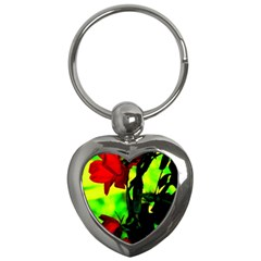 Red Roses And Bright Green 3 Key Chains (heart)  by timelessartoncanvas