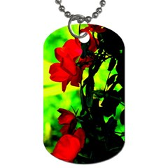 Red Roses And Bright Green 3 Dog Tag (one Side) by timelessartoncanvas
