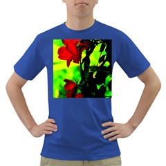 Red Roses And Bright Green 3 Dark T-shirt by timelessartoncanvas