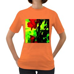 Red Roses And Bright Green 3 Women s Dark T Shirt by timelessartoncanvas