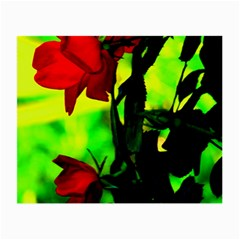 Red Roses And Bright Green 3 Small Glasses Cloth by timelessartoncanvas
