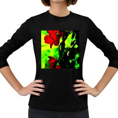 Red Roses And Bright Green 3 Women s Long Sleeve Dark T-shirts by timelessartoncanvas