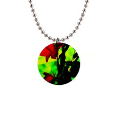 Red Roses And Bright Green 3 Button Necklaces