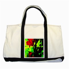 Red Roses And Bright Green 3 Two Tone Tote Bag by timelessartoncanvas