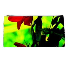 Red Roses And Bright Green 3 Pencil Cases by timelessartoncanvas