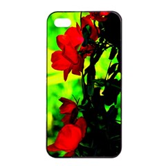 Red Roses And Bright Green 3 Apple Iphone 4/4s Seamless Case (black) by timelessartoncanvas