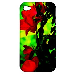 Red Roses And Bright Green 3 Apple Iphone 4/4s Hardshell Case (pc+silicone) by timelessartoncanvas