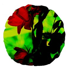 Red Roses And Bright Green 3 Large 18  Premium Round Cushions by timelessartoncanvas