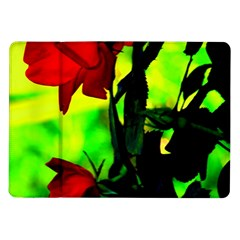 Red Roses And Bright Green 3 Samsung Galaxy Tab 10 1  P7500 Flip Case by timelessartoncanvas