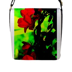 Red Roses And Bright Green 3 Flap Messenger Bag (l)  by timelessartoncanvas