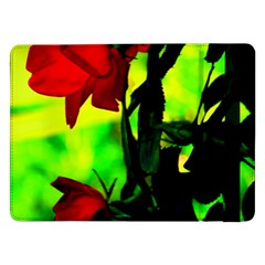 Red Roses And Bright Green 3 Samsung Galaxy Tab Pro 12 2  Flip Case by timelessartoncanvas