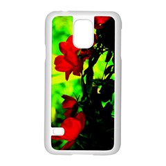 Red Roses And Bright Green 3 Samsung Galaxy S5 Case (white) by timelessartoncanvas