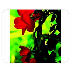 Red Roses And Bright Green 3 Double Sided Flano Blanket (medium)  by timelessartoncanvas