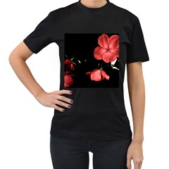 Mauve Roses 1 Women s T Shirt (black) (two Sided) by timelessartoncanvas