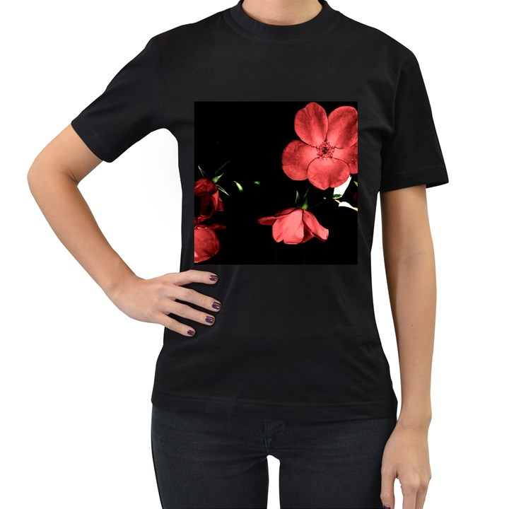 Mauve Roses 1 Women s T-Shirt (Black) (Two Sided)