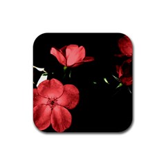 Mauve Roses 2 Rubber Square Coaster (4 Pack)  by timelessartoncanvas