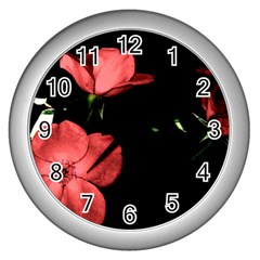 Mauve Roses 2 Wall Clocks (silver)  by timelessartoncanvas