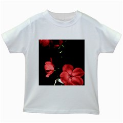 Mauve Roses 3 Kids White T Shirts by timelessartoncanvas