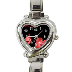 Mauve Roses 3 Heart Italian Charm Watch by timelessartoncanvas