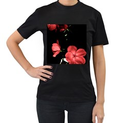 Mauve Roses 3 Women s T-shirt (black) (two Sided) by timelessartoncanvas