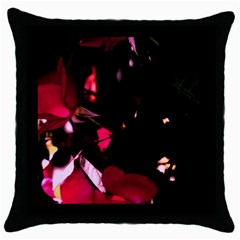 Pink Roses Throw Pillow Case (black) by timelessartoncanvas