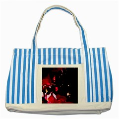 Pink Roses Striped Blue Tote Bag by timelessartoncanvas