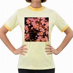 Little Mauve Flowers Women s Fitted Ringer T Shirts by timelessartoncanvas