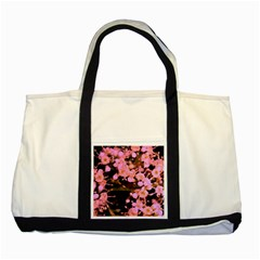 Little Mauve Flowers Two Tone Tote Bag by timelessartoncanvas