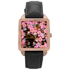 Little Mauve Flowers Rose Gold Leather Watch  by timelessartoncanvas