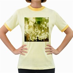 Little White Flowers Women s Fitted Ringer T Shirts by timelessartoncanvas