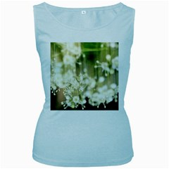 Little White Flowers Women s Baby Blue Tank Top by timelessartoncanvas