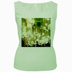 Little White Flowers Women s Green Tank Top by timelessartoncanvas