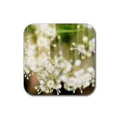 Little White Flowers Rubber Square Coaster (4 Pack)  by timelessartoncanvas
