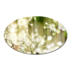 Little White Flowers Oval Magnet by timelessartoncanvas