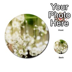 Little White Flowers Multi Purpose Cards (round)  by timelessartoncanvas