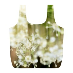 Little White Flowers Full Print Recycle Bags (l)  by timelessartoncanvas