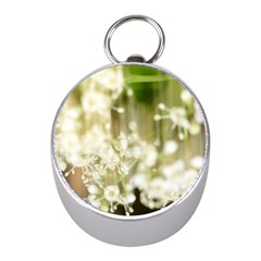 Little White Flowers Mini Silver Compasses by timelessartoncanvas