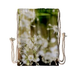 Little White Flowers Drawstring Bag (small)
