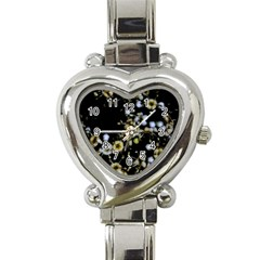 Little White Flowers 2 Heart Italian Charm Watch by timelessartoncanvas