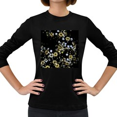 Little White Flowers 2 Women s Long Sleeve Dark T-shirts by timelessartoncanvas