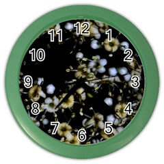 Little White Flowers 2 Color Wall Clocks by timelessartoncanvas