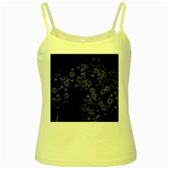 Little White Flowers 3 Yellow Spaghetti Tank by timelessartoncanvas