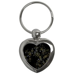 Little White Flowers 3 Key Chains (heart)  by timelessartoncanvas