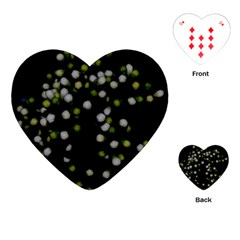 Little White And Green Dots Playing Cards (heart)