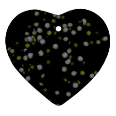 Little White And Green Dots Heart Ornament (2 Sides) by timelessartoncanvas