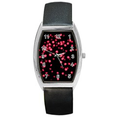 Little Pink Dots Barrel Style Metal Watch by timelessartoncanvas