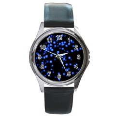 Little Blue Dots Round Metal Watch by timelessartoncanvas