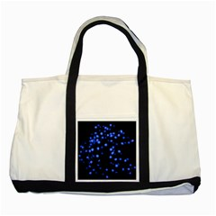 Little Blue Dots Two Tone Tote Bag by timelessartoncanvas