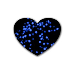 Little Blue Dots Heart Coaster (4 Pack)  by timelessartoncanvas