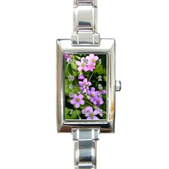 Little Purple Flowers Rectangle Italian Charm Watch by timelessartoncanvas